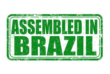 assembled: Assembled in Brazil grunge rubber stamp on white background, vector illustration