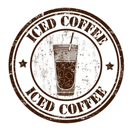 frozen drink: Iced coffee grunge rubber stamp on white background, vector illustration