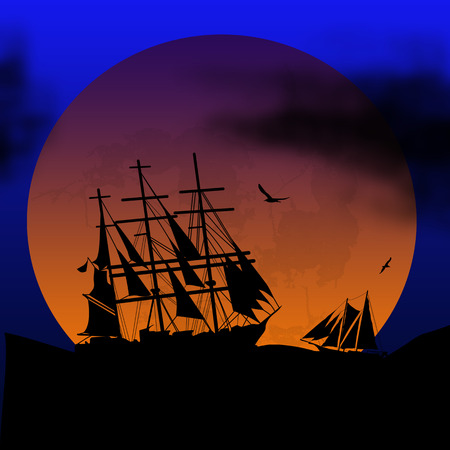 Boat floating on the ocean in front of a very big full moon by bue night, vector illustration Illustration