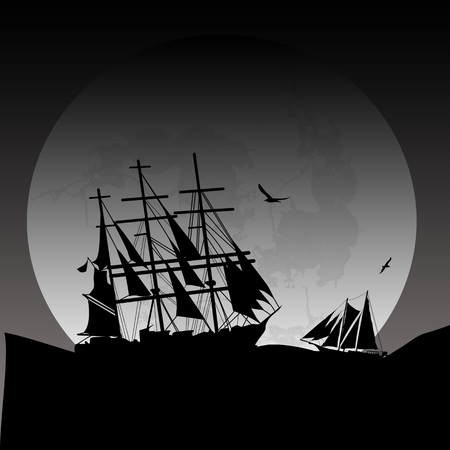 brigand: Boat floating on the ocean in front of a very big full moon by grey night, vector illustration