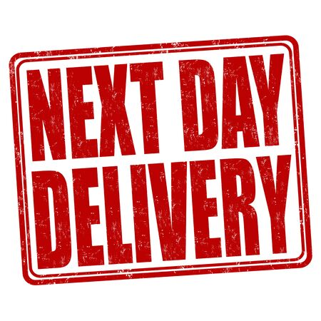 next: Next day delivery grunge rubber stamp on white.