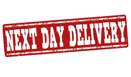 next to: Next day delivery grunge rubber stamp on white.