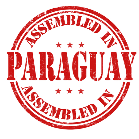assembled: Assembled in Paraguay grunge rubber stamp on white.