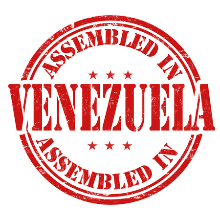 invent: Assembled in Venezuela grunge rubber stamp on white. Illustration