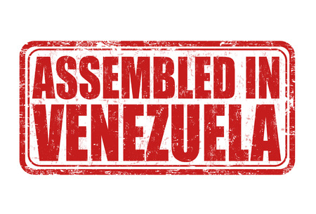 assembled: Assembled in Venezuela grunge rubber stamp on white. Illustration