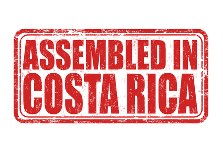 assembled: Assembled in Costa Rica grunge rubber stamp on white background. Illustration