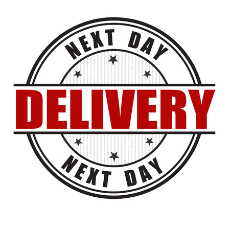 white day: Next day delivery grunge rubber stamp on white.