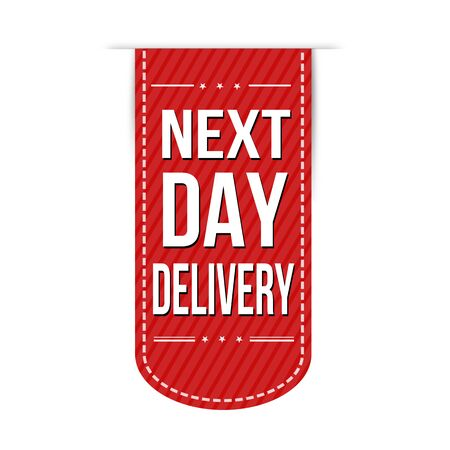 next: Next day delivery banner design over a white.