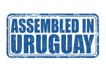 invent: Assembled in Uruguay grunge rubber stamp on white.