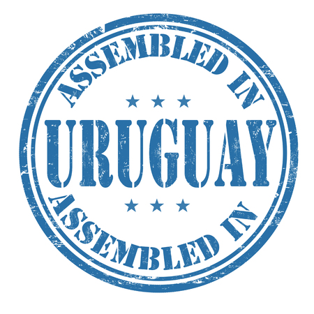 made manufacture manufactured: Assembled in Uruguay grunge rubber stamp on white.