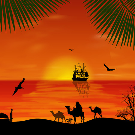 convoy: Camel caravan at sunset on the beach, vector illustration