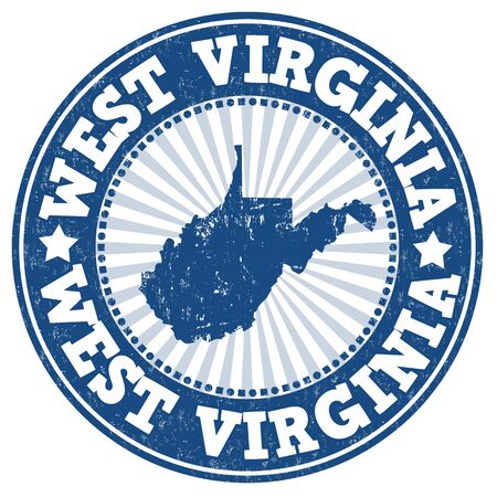 Grunge rubber stamp with the name and map of West Virginia , vector illustration