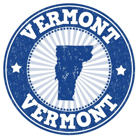 imprinted: Grunge rubber stamp with the name and map of Vermont , vector illustration