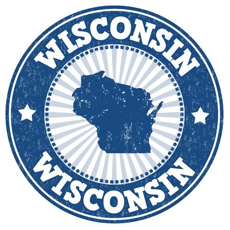 Grunge rubber stamp with the name and map of Wisconsin, vector illustration
