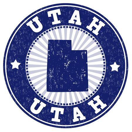 identifier: Grunge rubber stamp with the name and map of Utah, vector illustration