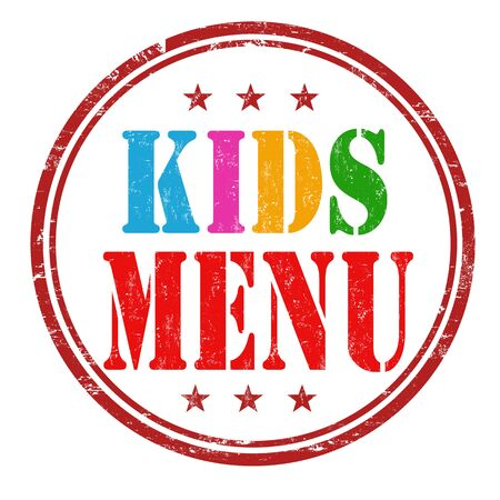 kids background: Kids menu grunge rubber stamp on white background, vector illustration