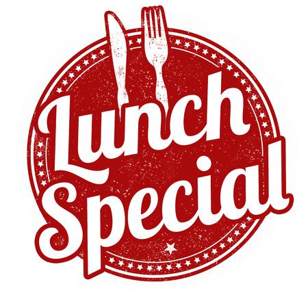 almuerzo: El almuerzo especial sello de goma del grunge en el fondo blanco, ilustración