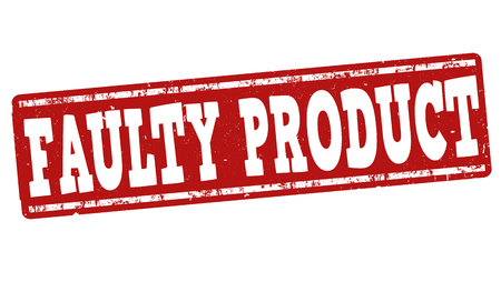flaw: Faulty product grunge rubber stamp on white background, vector illustration