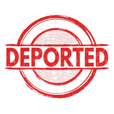 grungy header: Deported grunge rubber stamp on white background, vector illustration
