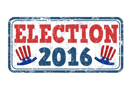 Election 2016 grunge rubber stamp on white background, vector illustration Vectores