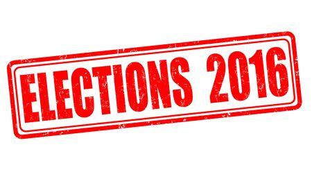 nomination: Elections 2016 grunge rubber stamp on white background, vector illustration
