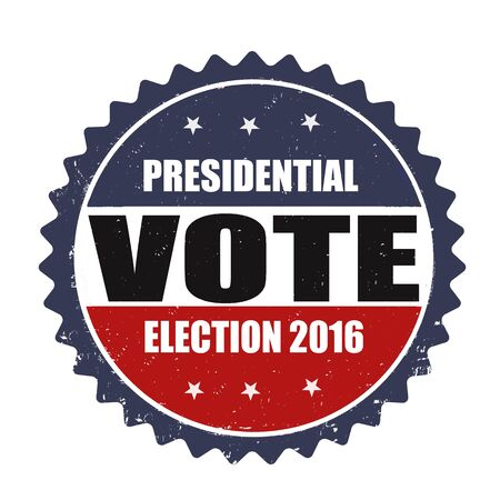 warrant: Presidential election 2016 grunge rubber stamp on white background, vector illustration