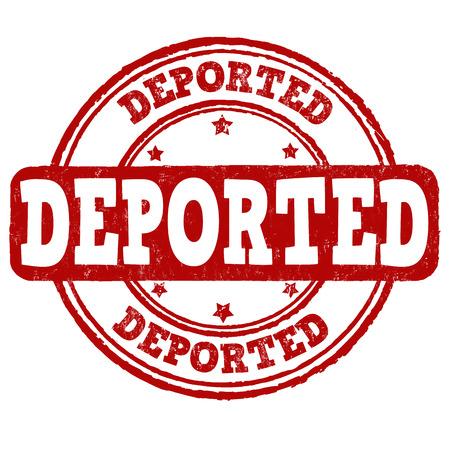 displacement: Deported grunge rubber stamp on white background, vector illustration