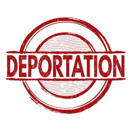 evicted: Deportation grunge rubber stamp on white background, vector illustration