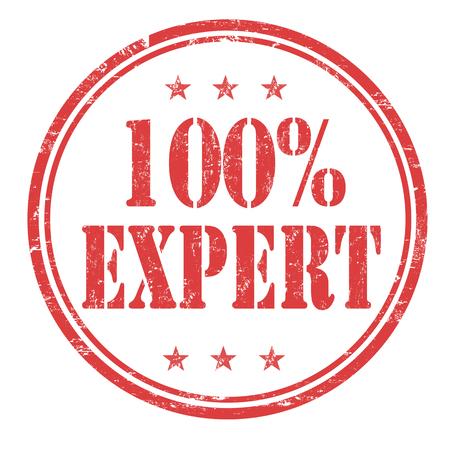 adept: 100% Expert grunge rubber stamp on white background, vector illustration