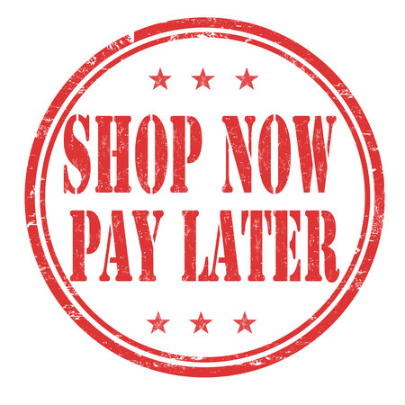 Shop now pay later grunge rubber stamp on white background, vector illustration Illusztráció
