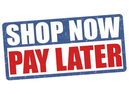 Compre ahora y pague después grunge sello de goma en el fondo blanco, ilustración vectorial Foto de archivo - 54344789