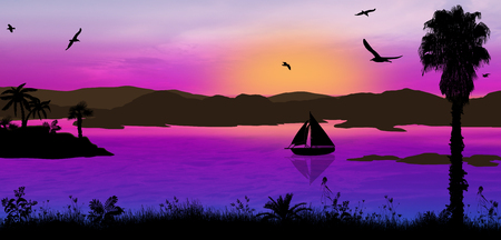 ocean background: Sunset on beautiful tropical seascape. Blue sunset on the ocean background, vector illustration