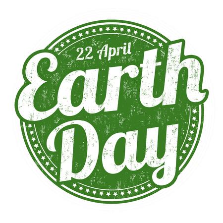 erde: Earth Day Grunge-Stempel auf weißem Hintergrund, Vektor-Illustration