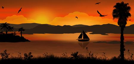 Coucher de soleil sur le magnifique paysage tropical. Orange coucher de soleil sur l'océan fond, illustration vectorielle