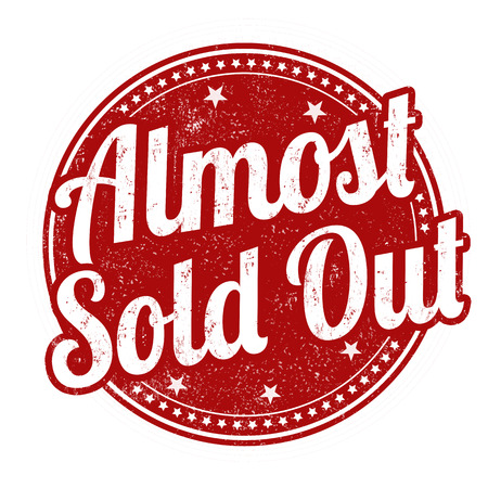 temporarily: Almost sold out grunge rubber stamp on white background, vector illustration