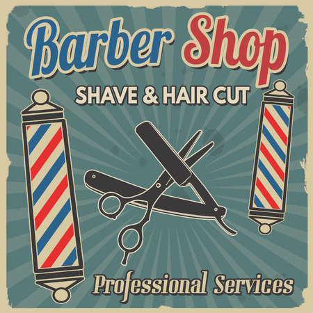 Barber shop retro poster design template on blue background, vector illustration Stock Illustratie
