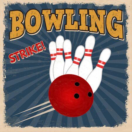 vintage: Bowling retro poster design template op een blauwe achtergrond, vector illustratie
