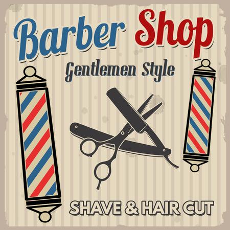 Barber shop poster design template on retro style background, vector illustration