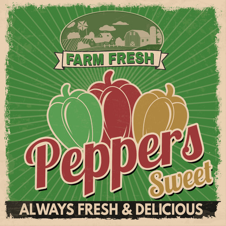 retro style: Sweet peppers vintage grunge retro advertising poster, vector illustration.  Retro vegetables for farm fresh
