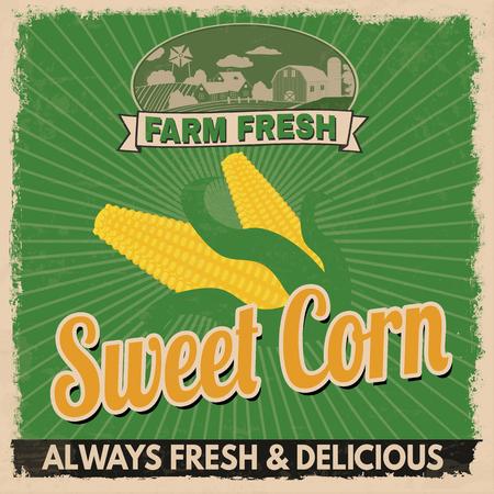 retro grunge: Sweet corn vintage grunge retro advertising poster, vector illustration.  Retro vegetables for farm fresh Illustration