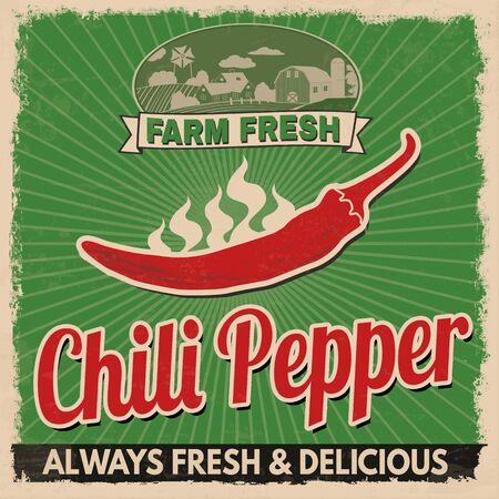 retro grunge: Chili pepper vintage grunge retro advertising poster, vector illustration.  Retro vegetables for farm fresh