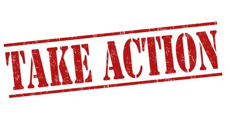 grungy header: Take action grunge rubber stamp on white background, vector illustration
