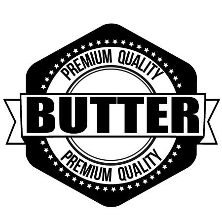 buttery: Butter grunge rubber stamp on white background, vector illustration Illustration