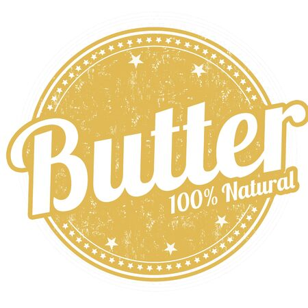 buttery: Butter grunge rubber stamp on white background, vector illustration Illustration