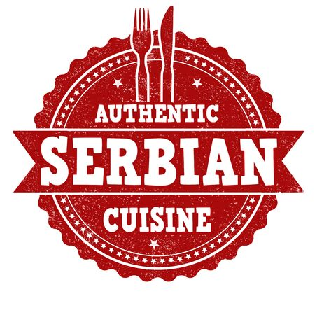 serbian: Serbian cuisine grunge rubber stamp on white background, vector illustration Illustration