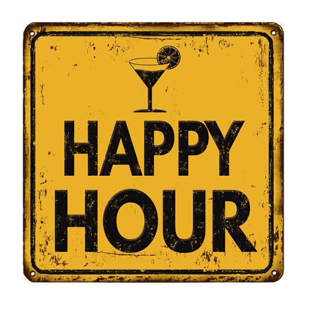 Happy hour sul cartello giallo di metallo arrugginito vintage su uno sfondo bianco, illustrazione vettoriale Archivio Fotografico - 54825666