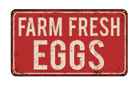 metal sign: Farm fresh eggs on red vintage rusty metal sign on a white background, vector illustration Illustration