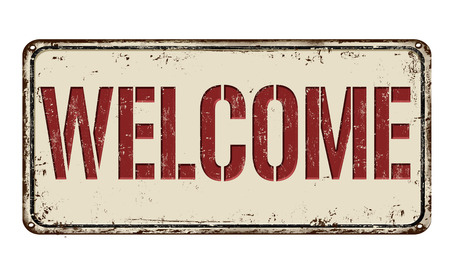 metal plate: Welcome on white vintage rusty metal sign on a white background, vector illustration