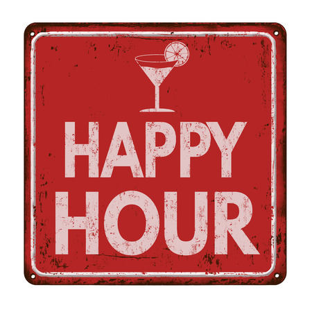 Happy hour on red vintage rusty metal sign on a white background, vector illustration