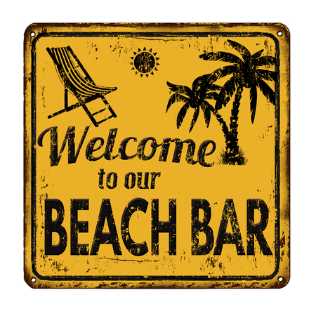 metal sign: Beach bar on yellow vintage rusty metal sign on a white background, vector illustration Illustration